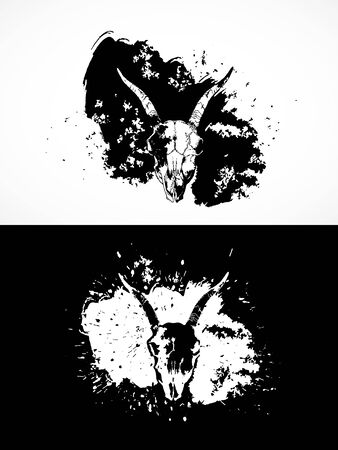 illustration with goat skulls. Two variants: black and white silhouettes with grunge texture and spots. For t-shirts, posters and other your design.
