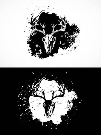 illustration with wild deer skulls. Two variants: black and white silhouettes with grunge texture and spots. For t-shirts, posters and other your design.  イラスト・ベクター素材