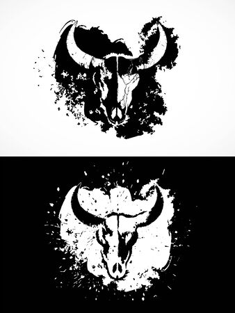 illustration with wild buffalo skulls. Two variants: black and white silhouettes with grunge texture and spots. For t-shirts, posters and other your design.