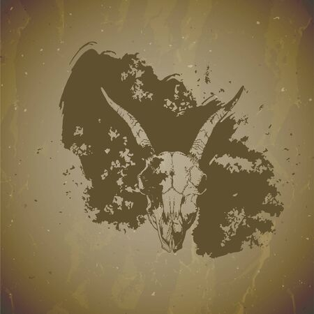 Vector illustration of hand drawn skulls goat with grunge elements on vintage background. Sketch in sepia color. For you design, print, tattoo or magic craft. Vettoriali