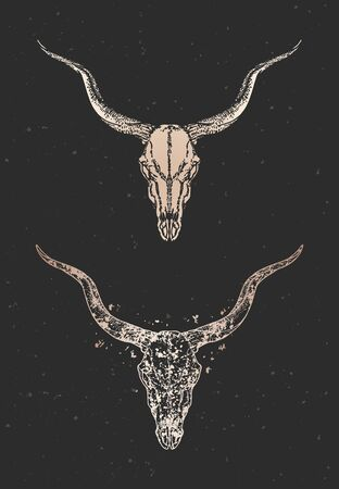 illustration with two variants of hand drawn antelope skull on black background. Gold silhouettes and contour with grunge texture. For you design, print, tattoo or magic craft.