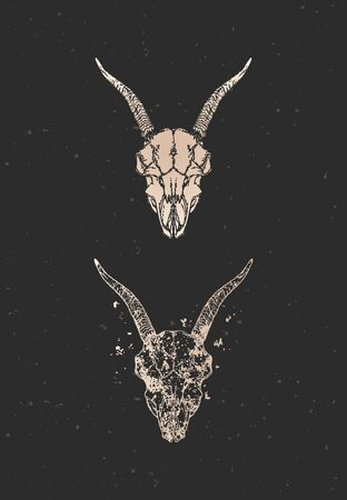 illustration with two variants of hand drawn goat skull on black background. Gold silhouettes and contour with grunge texture. For you design, print, tattoo or magic craft.