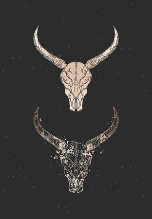 illustration with two variants of hand drawn wild buffalo skulls on black background. Gold silhouettes and contour with grunge texture. For you design, print, tattoo or magic craft.