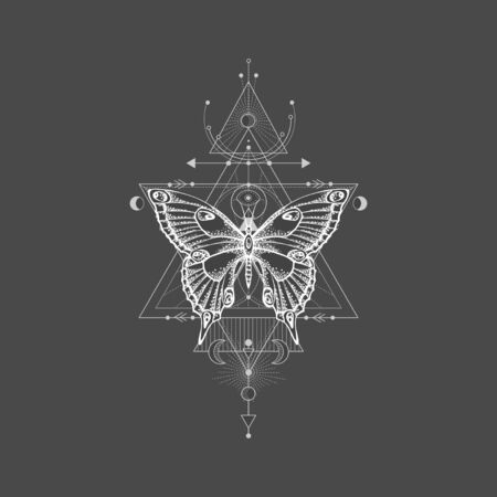 illustration with hand drawn butterfly and Sacred geometric symbol on black background. Abstract mystic sign. White linear shape. For you design, tattoo or magic craft.