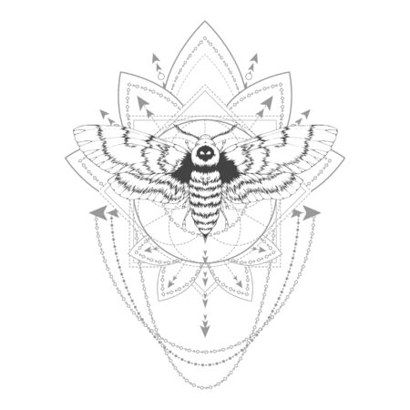 illustration with hand drawn dead head moth and Sacred geometric symbol on white background. Abstract mystic sign. Black linear shape. For you design, tattoo or magic craft. Illustration