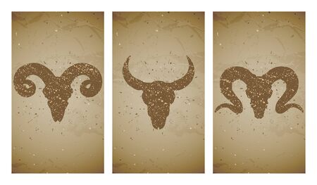 Vector set of three illustrations with grunge silhouettes skulls wild buffalo, bull and ram on old texture background. Vintage sketch in sepia color. For you design, print, tattoo or magic craft.