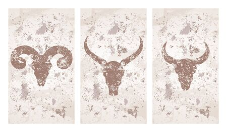 Vector set of three illustrations with hand drawn silhouettes skulls wild buffalo, bull and ram on grunge texture background. Vintage sketch in beige color. For you design, print, tattoo or magic craft.