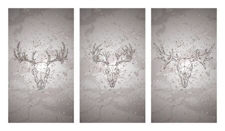 Vector set of three illustrations with hand drawn skulls deer and moose on grunge texture background. Vintage sketch in dark color. For you design, print, tattoo or magic craft.