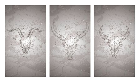 Vector set of three illustrations with hand drawn skulls wild buffalo, bull and goat on grunge texture background. Vintage sketch in dark color. For you design, print, tattoo or magic craft.