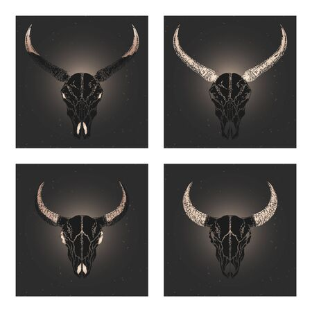 Vector set of four illustrations with hand drawn black silhouettes skulls wild buffalo and bull with gold elements on dark background. For you design, print, tattoo or magic craft.
