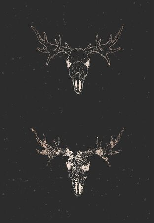Vector illustration with two variants of hand drawn moose skull on black background. Gold silhouettes and contour with grunge texture. For you design, print, tattoo or magic craft. Illustration