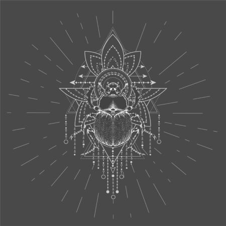 Vector illustration with hand drawn Scarab and Sacred geometric symbol on black background. Abstract mystic sign. White linear shape. For you design, tattoo or magic craft.