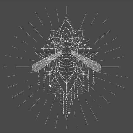 Vector illustration with hand drawn Wasp and Sacred geometric symbol on black background. Abstract mystic sign. White linear shape. For you design, tattoo or magic craft. 일러스트