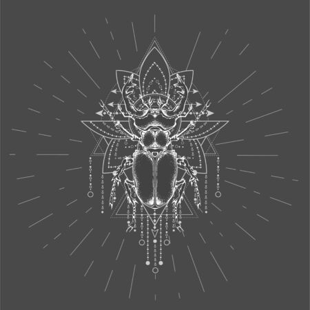 Vector illustration with hand drawn Stag Beetle and Sacred symbol on black background. Abstract mystic sign. White linear shape. For you design, tattoo or magic craft. Stock fotó - 129352352