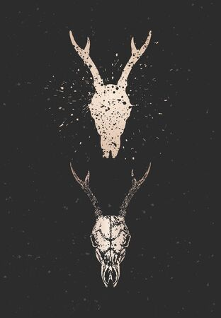Vector illustration with two variants of hand drawn roe deer skulls on black background. Gold silhouettes and contour with grunge texture. For you design, print, tattoo or magic craft.
