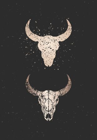 Vector illustration with two variants of hand drawn bull skulls on black background. Gold silhouettes and contour with grunge texture. For you design, print, tattoo or magic craft. Иллюстрация