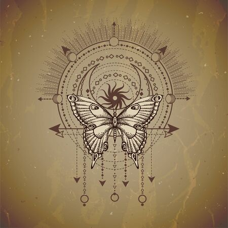 Vector illustration with hand drawn butterfly and Sacred geometric symbol on vintage paper background. Abstract mystic sign. Sepia linear shape. For you design or magic craft. 写真素材 - 129352443