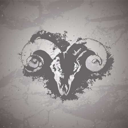 Vector illustration of hand drawn skull wild ram and grunge elements on vintage background. Sketch in dark color. For you design, print, tattoo or magic craft.