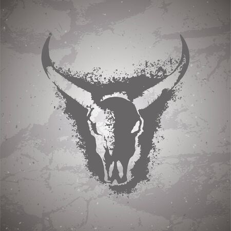 Vector illustration of hand drawn skull wild buffalo and grunge elements on vintage background. Sketch in dark color. For you design, print, tattoo or magic craft. 矢量图像