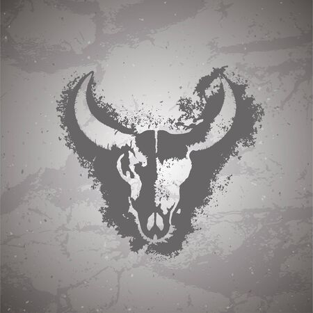 Vector illustration of hand drawn skull bull and grunge elements on vintage background. Sketch in dark color. For you design, print, tattoo or magic craft. Иллюстрация