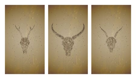 Vector set of three illustrations with grunge silhouettes skulls wild buffalo, goat and roe deer on old texture background. Vintage sketch in sepia color. For you design, print, tattoo or magic craft. Stock Illustratie