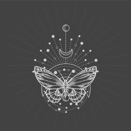 Vector illustration with hand drawn butterfly and Sacred geometric symbol on black background. Abstract mystic sign. White linear shape. For you design, tattoo or magic craft. 矢量图像
