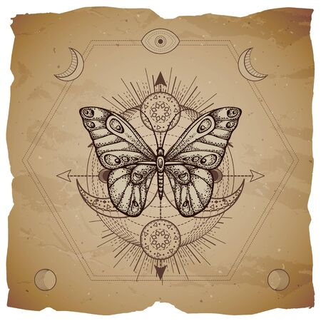Vector illustration with hand drawn butterfly and Sacred geometric symbol on old paper background with torn edges. Abstract mystic sign. Sepia linear shape. For you design or magic craft.  イラスト・ベクター素材