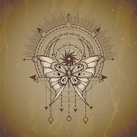 Vector illustration with hand drawn butterfly and Sacred geometric symbol on vintage paper background. Abstract mystic sign. Sepia linear shape. For you design or magic craft.