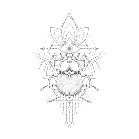 Vector illustration with hand drawn scarab and Sacred symbol on white background. Abstract mystic sign. Black linear shape. For you design, tattoo or magic craft.