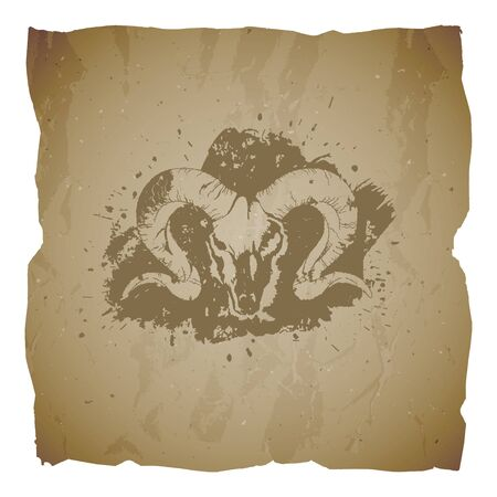 Vector illustration of hand drawn skull wild ram and grunge elements on old torn edges background. Texture of old paper. Sketch in sepia color. For you design, print, tattoo or magic craft. Illusztráció