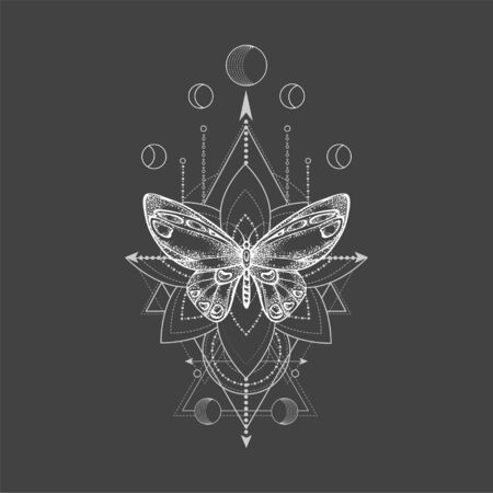 Vector illustration with hand drawn butterfly and Sacred geometric symbol on black background. Abstract mystic sign. White linear shape. For you design, tattoo or magic craft. 写真素材 - 129346910