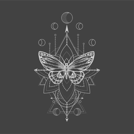 Vector illustration with hand drawn butterfly and Sacred geometric symbol on black background. Abstract mystic sign. White linear shape. For you design, tattoo or magic craft. 写真素材 - 129346913