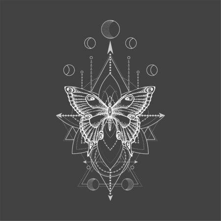 Ilustración de vector con mariposa dibujada a mano y símbolo geométrico sagrado sobre fondo negro. Signo místico abstracto. Forma lineal blanca. Para tu diseño, tatuaje o artesanía mágica. Ilustración de vector