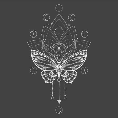 Vector illustration with hand drawn butterfly and Sacred symbol on black background. Abstract mystic sign. White linear shape. For you design, tattoo or magic craft.