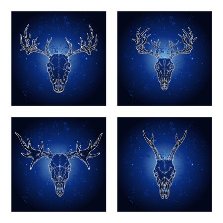 Vector set of four illustrations with hand drawn skulls deer and moose on blue abstract background. For you design, print, tattoo or magic craft.
