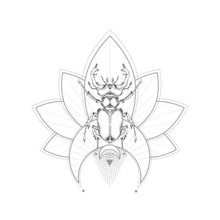 Vector illustration with hand drawn stag beetle and Sacred geometric symbol on white background. Abstract mystic sign. Black linear shape. For you design, tattoo or magic craft.