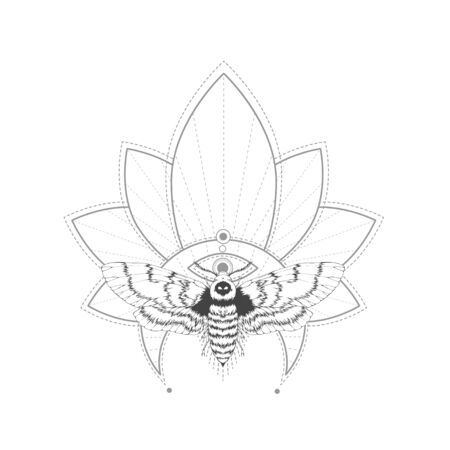 Vector illustration with hand drawn dead head moth and Sacred symbol on white background. Abstract mystic sign. Black linear shape. For you design, tattoo or magic craft.  イラスト・ベクター素材