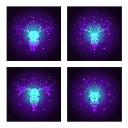 Vector set of four illustrations with hand drawn skulls deer and moose on blue and purple abstract background. For you design, print, tattoo or magic craft.