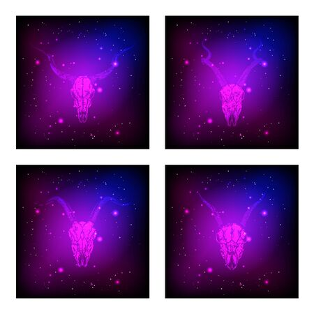 Vector set of four illustrations with hand drawn skulls antelopes and goats on purple and pink abstract background. For you design, print, tattoo or magic craft.
