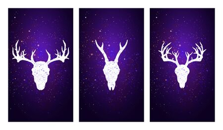 Vector set of three illustrations with silhouettes skulls deer on purple starry sky background. In blue color. For you design, print, tattoo or magic craft.
