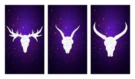 Vector set of three illustrations with silhouettes skulls deer, goat, and buffalo on purple starry sky background. In blue color. For you design, print, tattoo or magic craft.