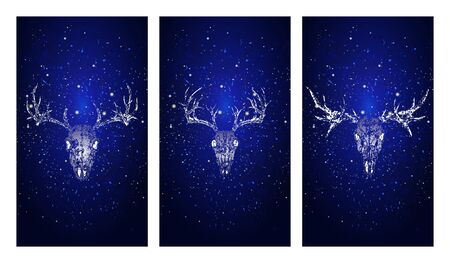 Vector set of three illustrations with silhouettes skulls deer and moose on blue starry sky background. In blue color. For you design, print, tattoo or magic craft.