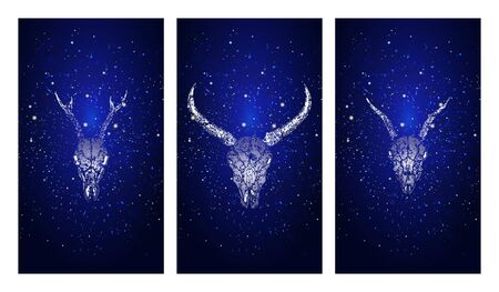 Vector set of three illustrations with silhouettes skulls roe deer, wild buffalo and goat on blue starry sky background. In blue color. For you design, print, tattoo or magic craft.