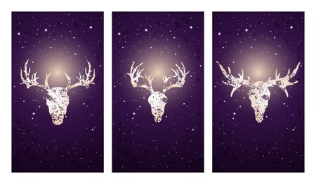 Vector set of three illustrations with silhouettes skulls deer and moose on purple starry sky background. In blue color. For you design, print, tattoo or magic craft.
