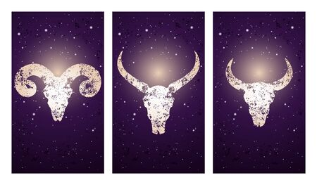Vector set of three illustrations with silhouettes skulls wild buffalo, bull and ram on purple starry sky background. In blue color. For you design, print, tattoo or magic craft. Иллюстрация