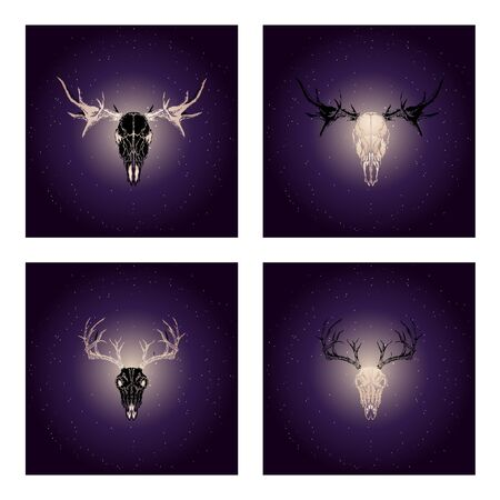 Vector set of four illustrations with hand drawn black skulls deer and moose with gold elements against the background of the starry sky. In purple color. For you design, print, tattoo or magic craft. Stock Illustratie