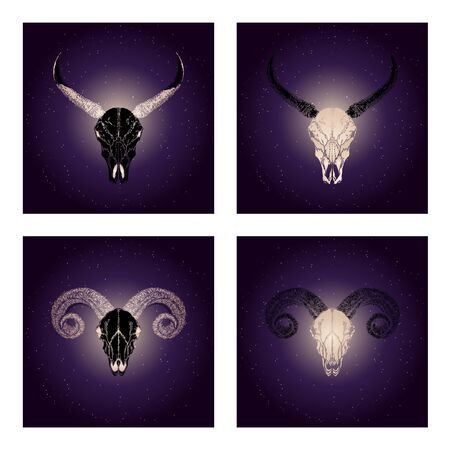 Vector set of four illustrations with hand drawn black skulls buffalo and ram with gold elements against the background of the starry sky. In purple color. For you design, print, tattoo or magic craft.