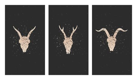 Vector set of three illustrations with gold silhouettes skulls deer, goats and grunge elements on black background. For you design, print, tattoo or magic craft. Stock Illustratie