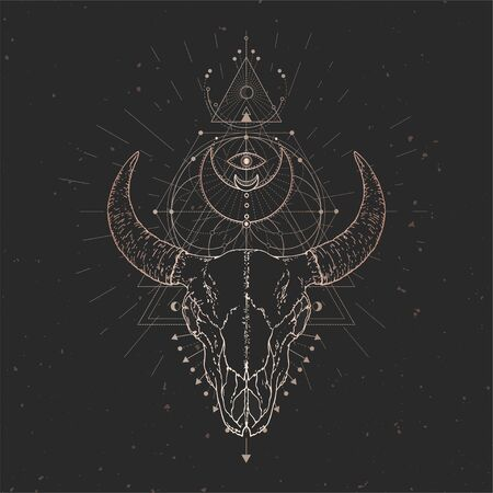 Vector illustration with hand drawn Bull skull and Sacred geometric symbol on black vintage background. Abstract mystic sign. Gold linear shape. For you design and magic craft. Çizim