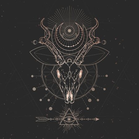 Vector illustration with hand drawn Antelope skull and Sacred geometric symbol on black vintage background. Abstract mystic sign. Gold linear shape. For you design and magic craft.